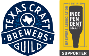 Texas Craft Brewers Guild Logo and Brewers Association Certified Independent Craft Supporter Seal