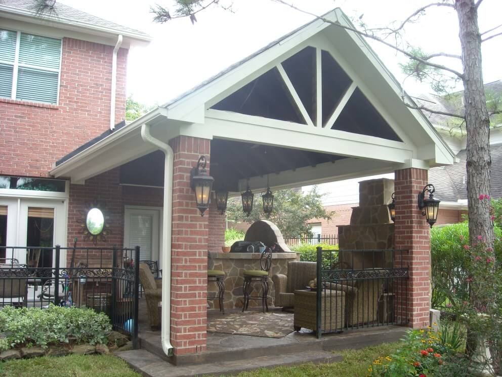 Gable Roof Patio Cover With Outdoor Kitchen Amp Fireplace