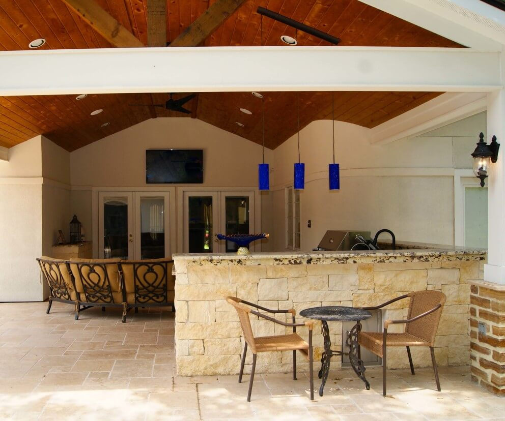 Contemporary Patio Cover Kitchen And Firepit Texas