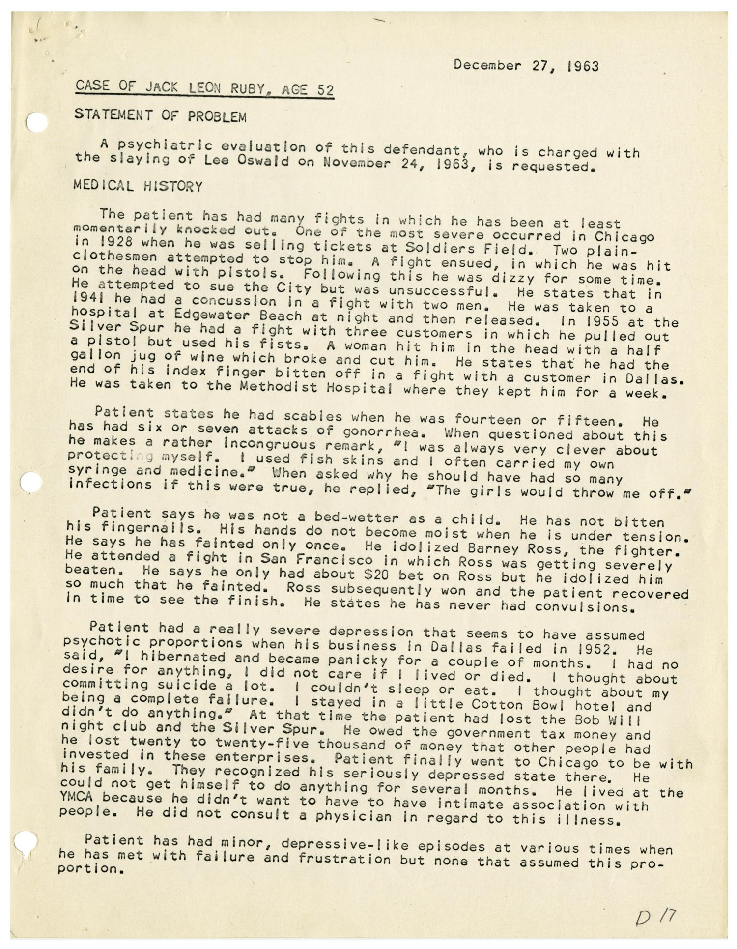 psychiatric evaluation of jack ruby december 17 1963 the portal to texas history