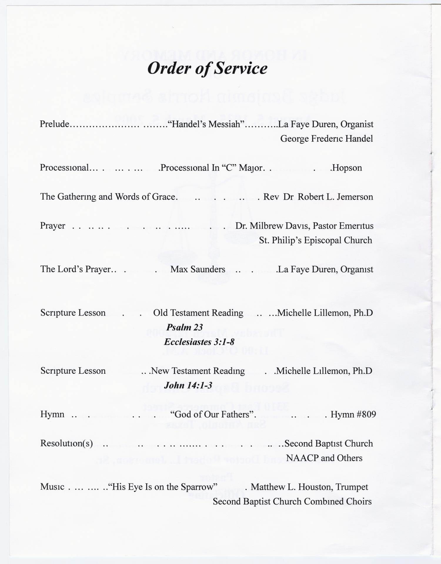 Funeral Program For Benjamin Norris Samples Page 2 Of 10 The Portal To Texas History