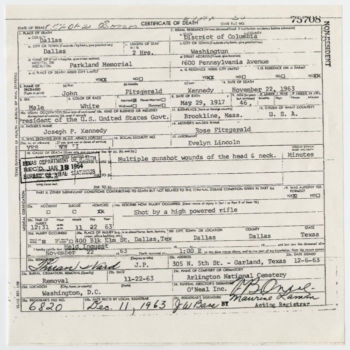 Death Certificate Of John F Kennedy The Portal To Texas