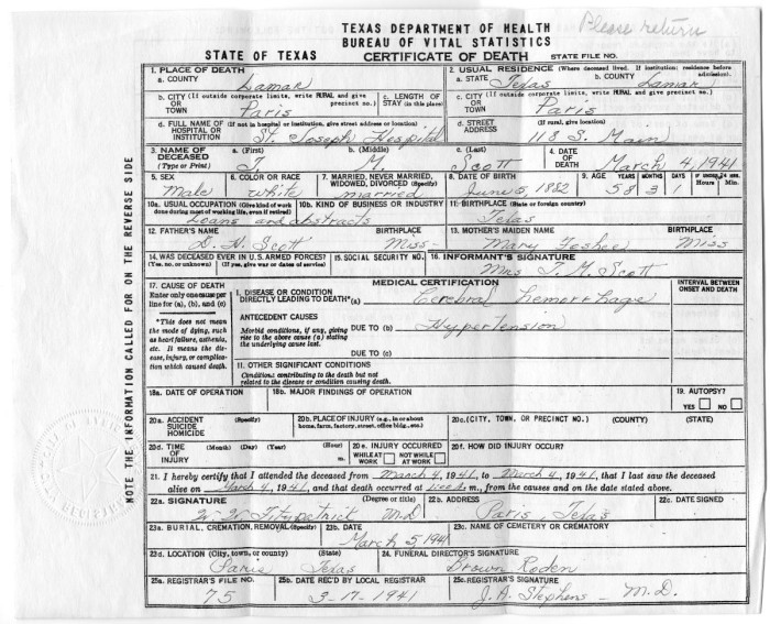 Death Certificate Of Thomas Mcgee Scott The Portal To