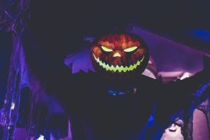 Picture of a lighted jack-o'-lantern to show that Halloween is scary.