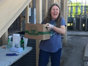 Beth from Advocacy Outreach is happy to pick up donated boxes