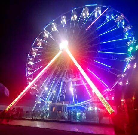 In Midway, smaller Illuminated ferris wheel