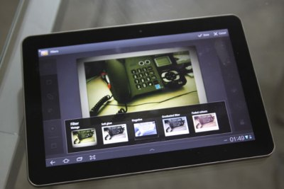 Tablet with image editing app.
