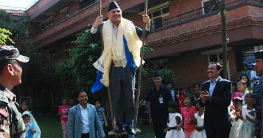 PM celebrates Dashain at old age home, Maiti Nepal