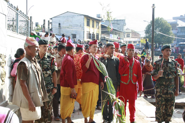 A Fulpati procession from Gorkha Durbar being brought to Dashain Ghar in Hanumandhoka at Basantapur Durbar Square.