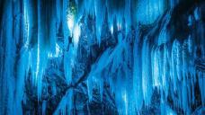 A frozen waterfall in Norway.