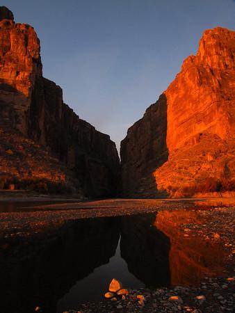Reflections of sunrise at Santa Elena Canyon