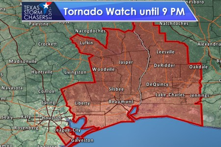 Tornado Watch Issued for Southeast Texas until 9 PM     Texas Storm         ending the threat of severe weather in Texas  You can keep up with any  new storms by following along on our free radar at  texasstormchasers com radar