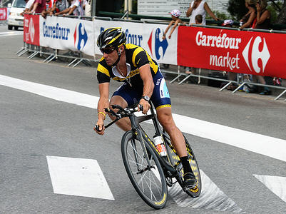 Lance warming up for the TT