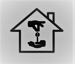 The black outline of a house with an icon in the middle of one hand dropping a key into another hand.