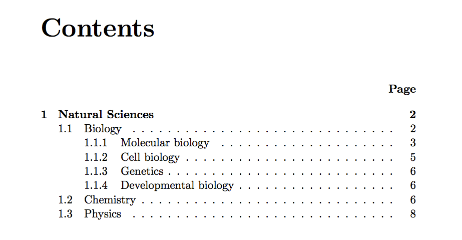 Latex table of contents not updating