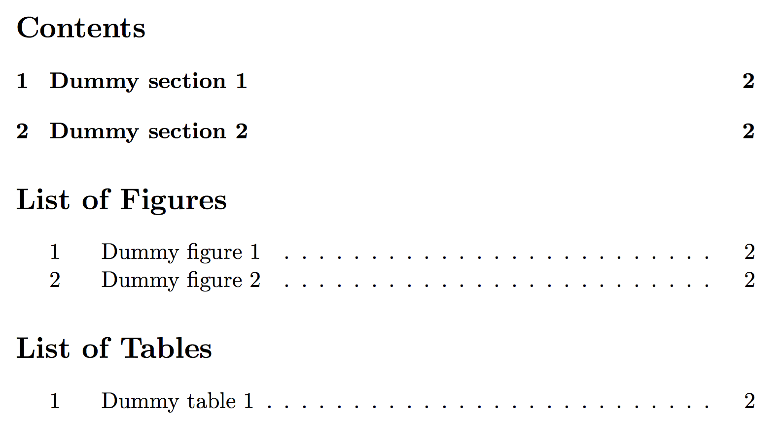 LaTeX table of contents, list of figures/tables and some