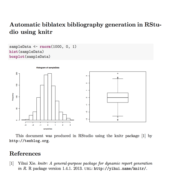 R/knitr] Automatic bibliography generation with biblatex in