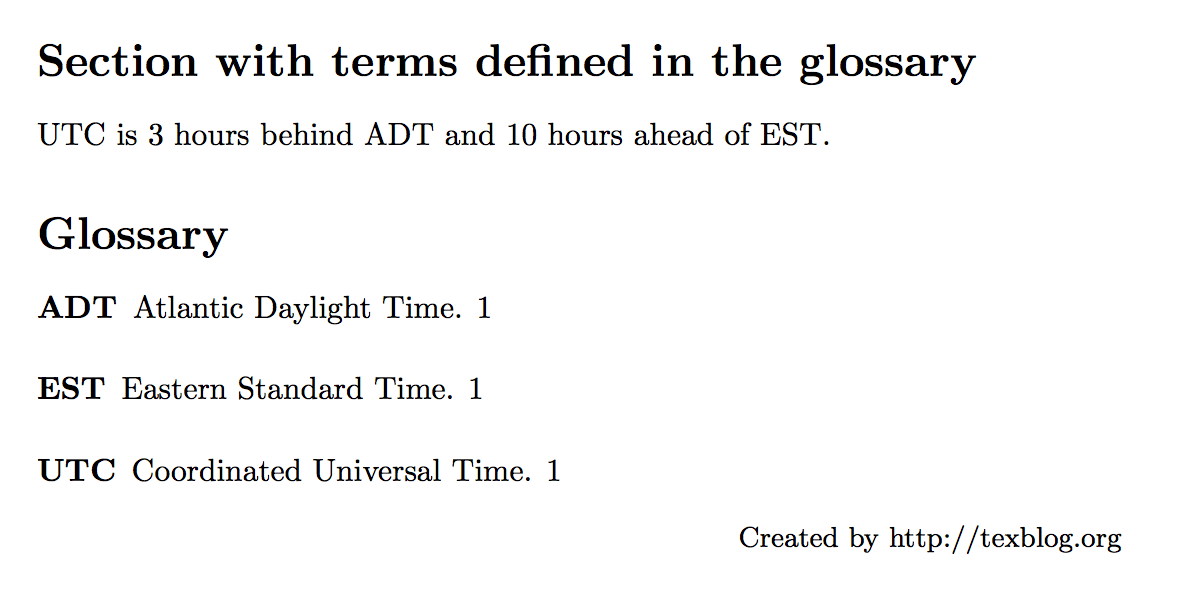 LaTeX glossary and list of acronyms