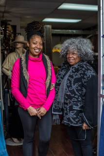 So on the left we have Gertha Hayes, owner of A Diva's Closet, and on the right we have Charron Pierre, owner of Makin Endz Meet. As I walked by these two fabulous women talking in the doorway of Charron's shop, I couldn't pass up the chance to photograph.