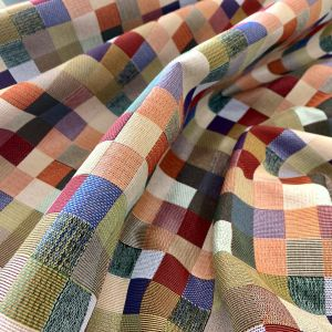 Tela Geometrico Cuadros Multicolor