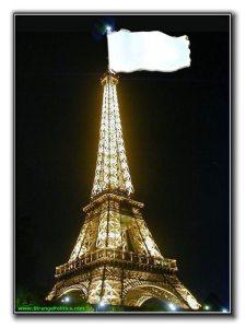 Eiffel Tower flying a white flag