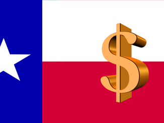 Texas flag overlaid with a dollar symbol