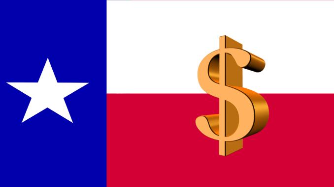 Texas flag overlaid with a dollar symbol