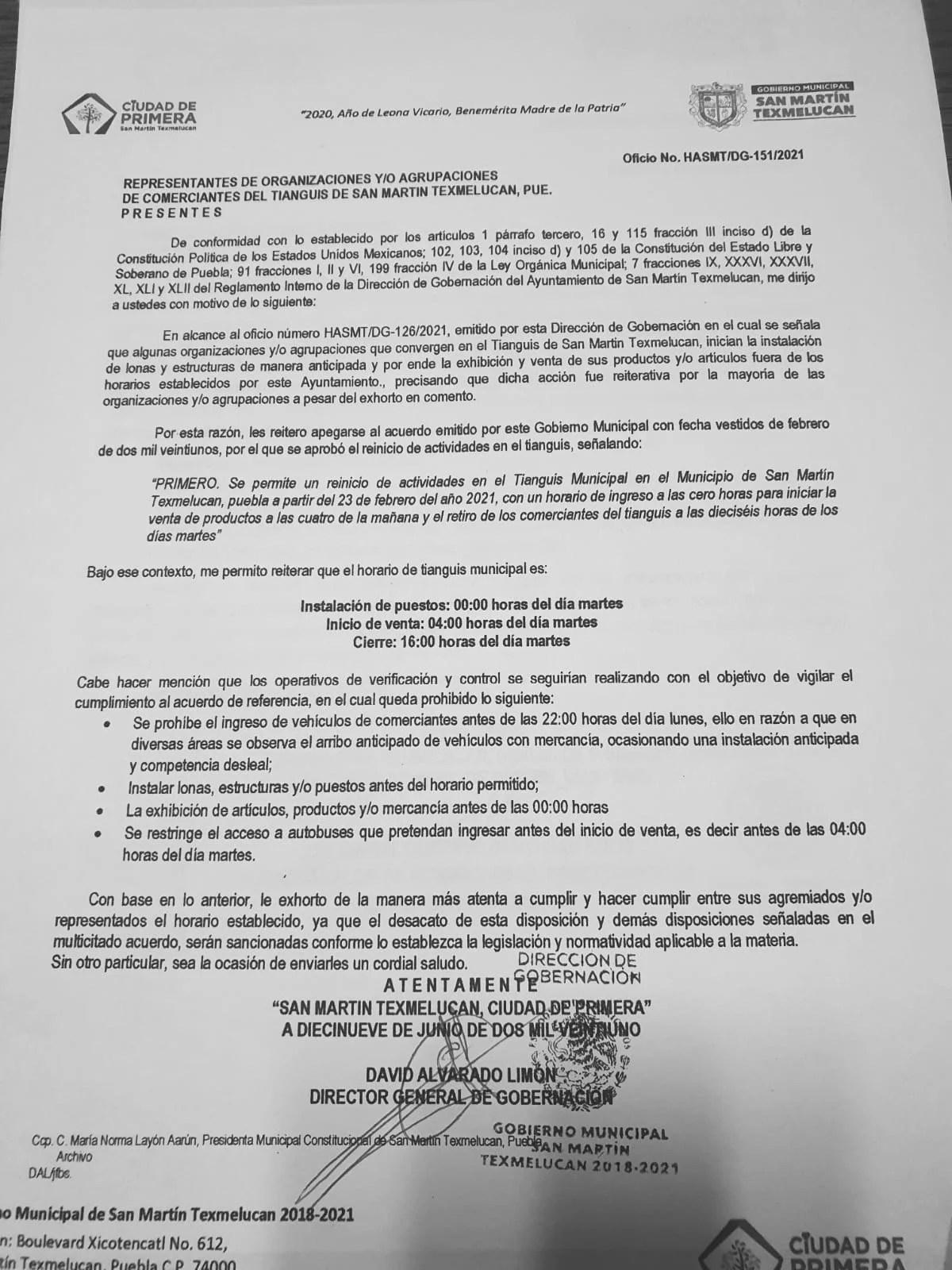 acuerdos para la instalación y operación de del tianguis de Texmelucan a partir de 23 de febrero