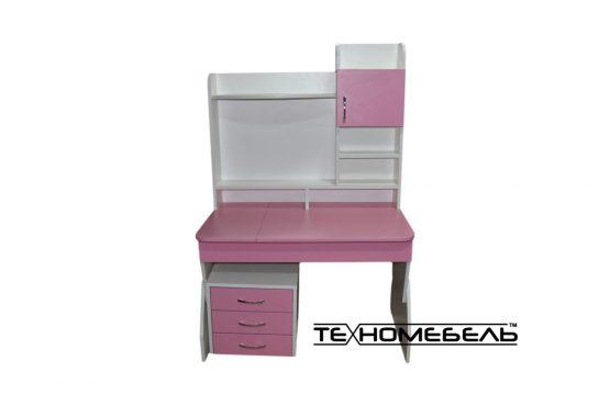 Детская парта ТЕХНОмебель от 3-х до 18 лет белый-розовый