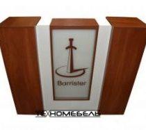 Ресепшн с логотипом и подсветкой длина 1400 мм белый-древесный