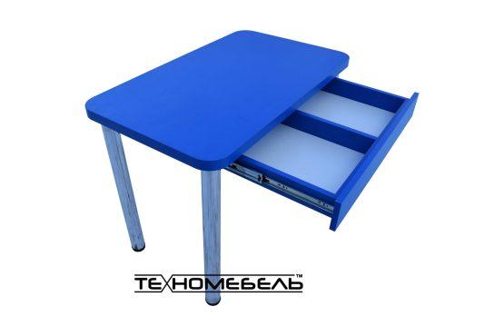 Кухонный стол с выдвижным ящиком синего цвета ТЕХНОмебель L=1000 мм