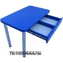 Стол кухонный (обеденный) синего цвета с выдвижным ящиком