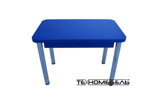 Стол кухонный (обеденный) синего цвета с выдвижным ящиком 3