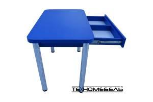 Стол кухонный (обеденный) синего цвета с выдвижным ящиком 4