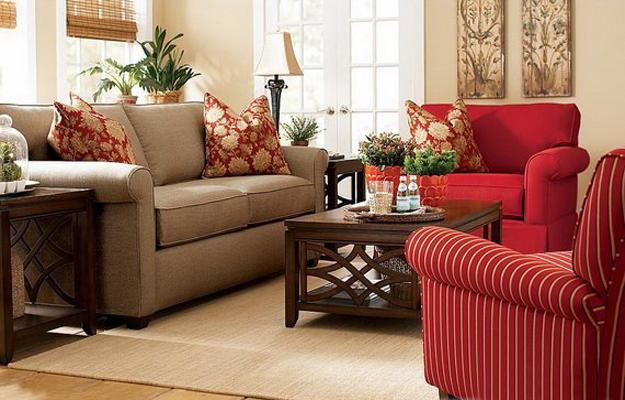 ιδέες και σχέδια για Καθιστικού με κόκκινο χρώμα5