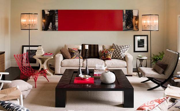 ιδέες και σχέδια για Καθιστικού με κόκκινο χρώμα9