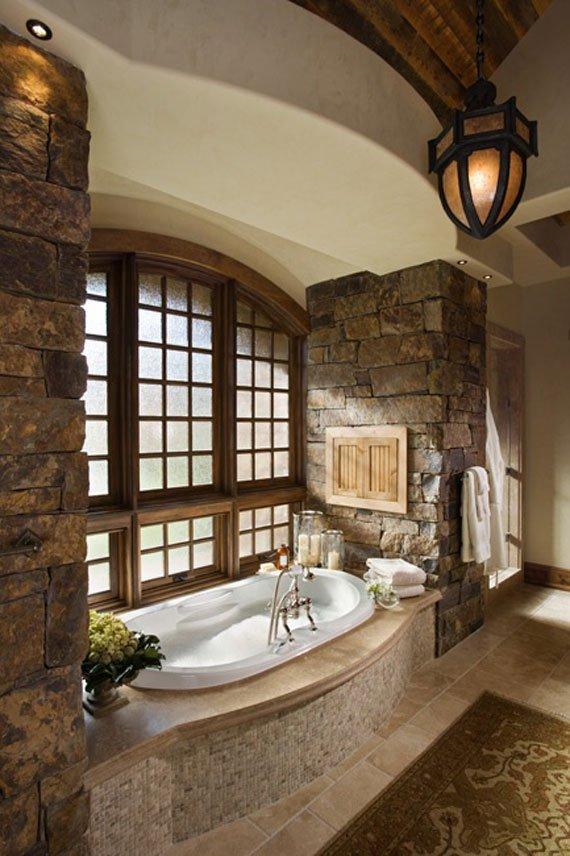 Ζεστά Σχέδια Μπάνιου με πέτρινους τοίχους15