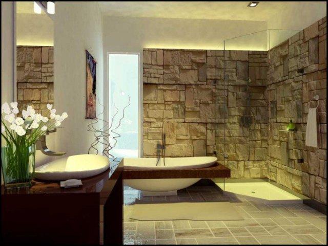 Ζεστά Σχέδια Μπάνιου με πέτρινους τοίχους2