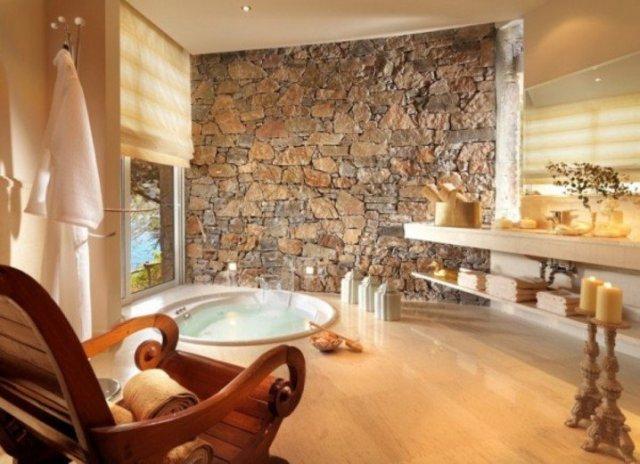 Ζεστά Σχέδια Μπάνιου με πέτρινους τοίχους4