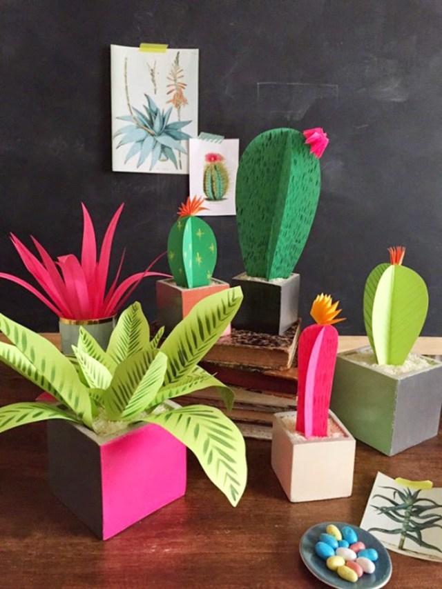 DIY διακόσμηση με ψεύτικα φυτά3