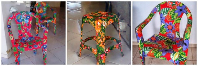 Plastic chairs customization with fabrics