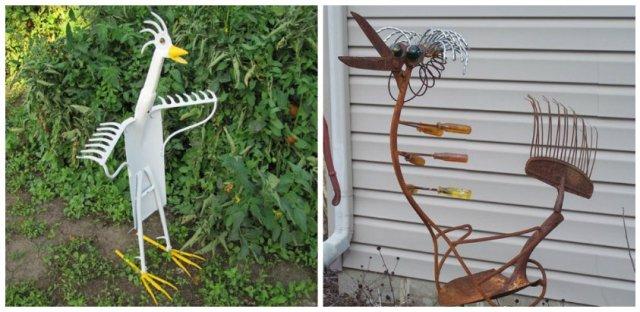 παλιά εργαλεία σε διακοσμητικά κήπου