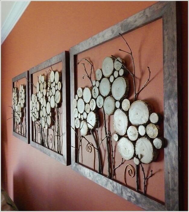 diy ιδέες διακόσμησης τοίχου με φέτες ξύλου3