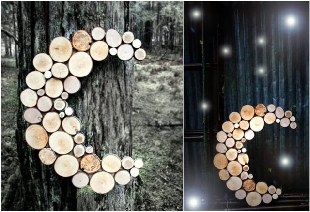 diy ιδέες διακόσμησης τοίχου με φέτες ξύλου7