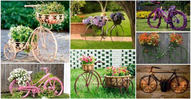 Ιδέες για γλάστρες με παλιά ποδήλατα