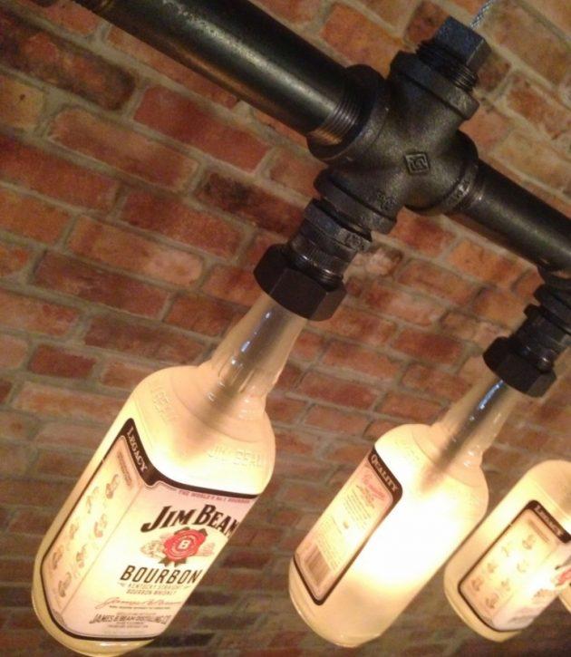 παλιά γυάλινα μπουκάλια σε απίθανα φωτιστικά2