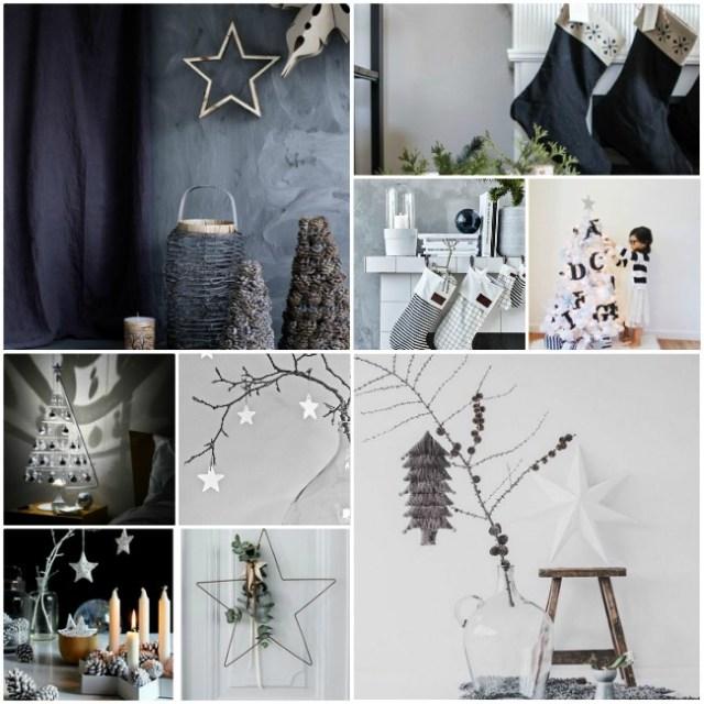 χριστουγεννιάτικη διακόσμηση σε άσπρο - μαύρο