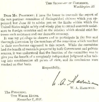 The preface to the Harriman report.