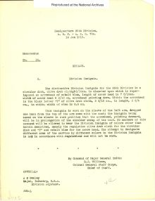 Memo about the Division Insignia from ARC Identifier 301641