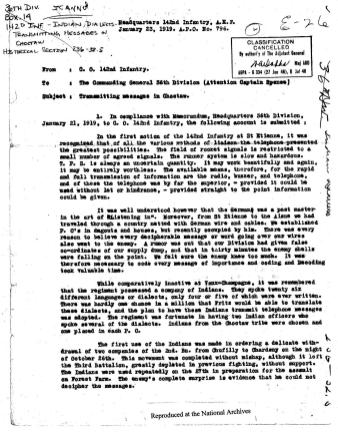 """Page 1 of memo """"Transmitting Messages in Choctaw"""" from ARC Identifier 301641"""